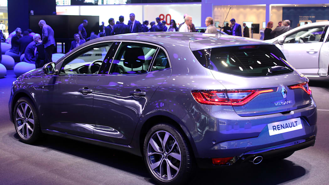 The 2016 Renault Megane, introduced at the 2015 Frankfurt Motor Show, rear three-quarter.