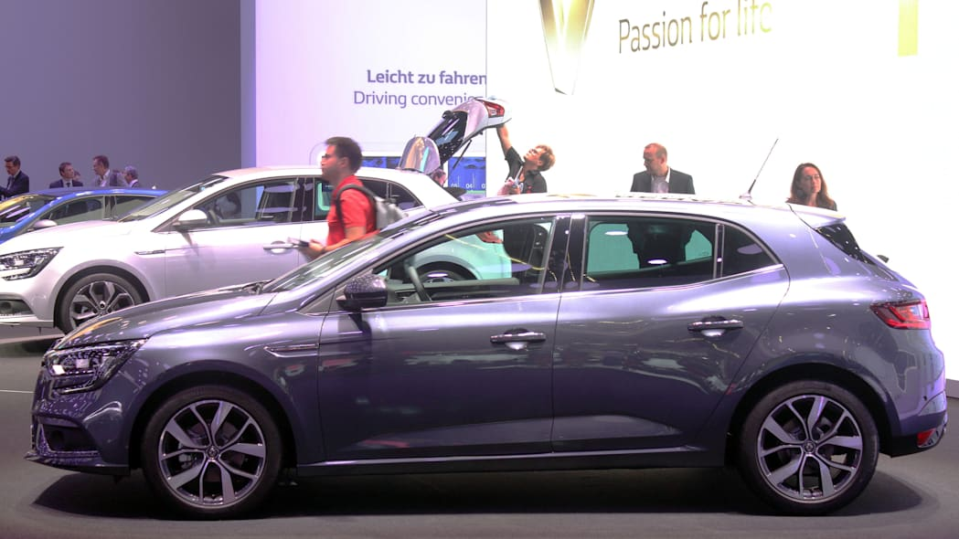 The 2016 Renault Megane, introduced at the 2015 Frankfurt Motor Show, side view.