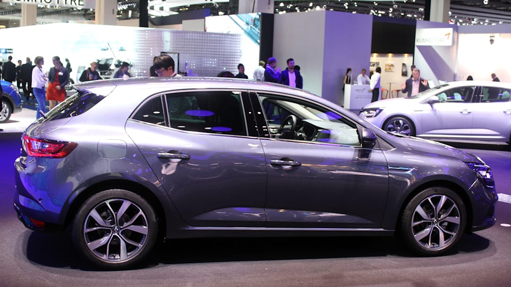 The 2016 Renault Megane, introduced at the 2015 Frankfurt Motor Show, passenger's side view.