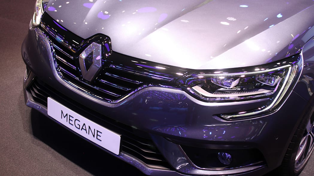 The 2016 Renault Megane, introduced at the 2015 Frankfurt Motor Show, detail of front of car.