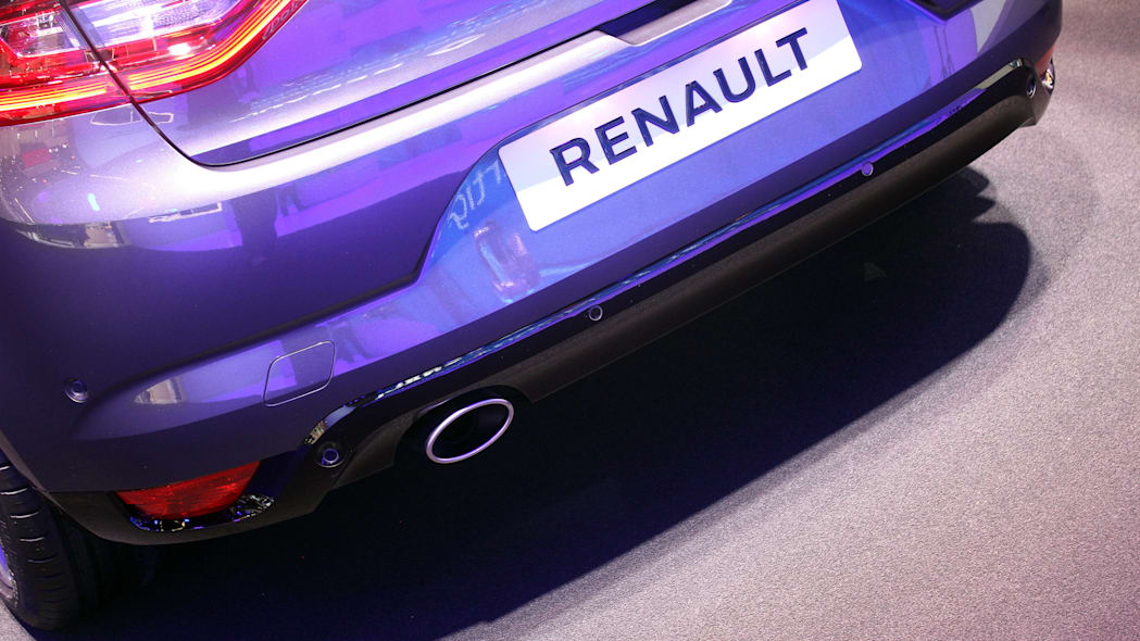 The 2016 Renault Megane, introduced at the 2015 Frankfurt Motor Show, rear diffuser and tailpipe detail.