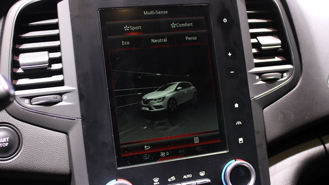 The 2016 Renault Megane, introduced at the 2015 Frankfurt Motor Show, the large touchscreen in the center console.