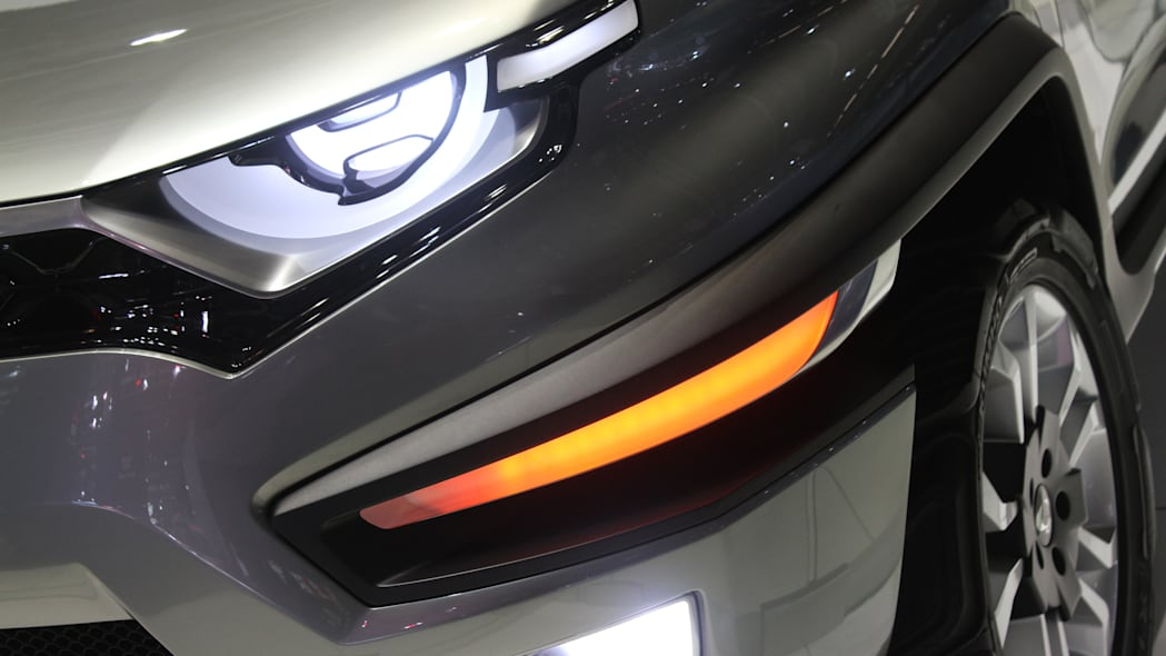 Ssangyong XAV concept unveiled at the 2015 Frankfurt Motor Show, headlight and bumper detail.