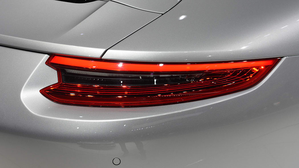 The 2016 Porsche 911 Carrera, now with a turbocharged engine in the standard car, unveiled at the Frankfurt Motor Show, taillight.