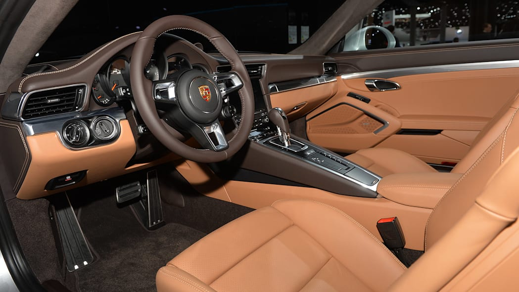 The 2016 Porsche 911 Carrera, now with a turbocharged engine in the standard car, unveiled at the Frankfurt Motor Show, interior.