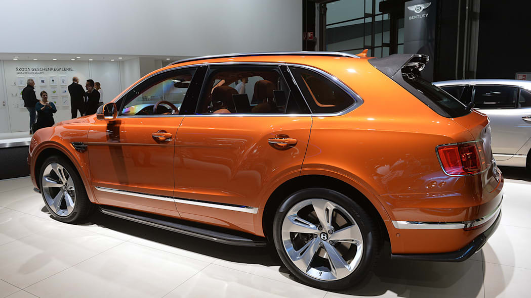 The Bentley Bentayga, unveiled at the 2015 Frankfurt Motor Show, rear three-quarter view.