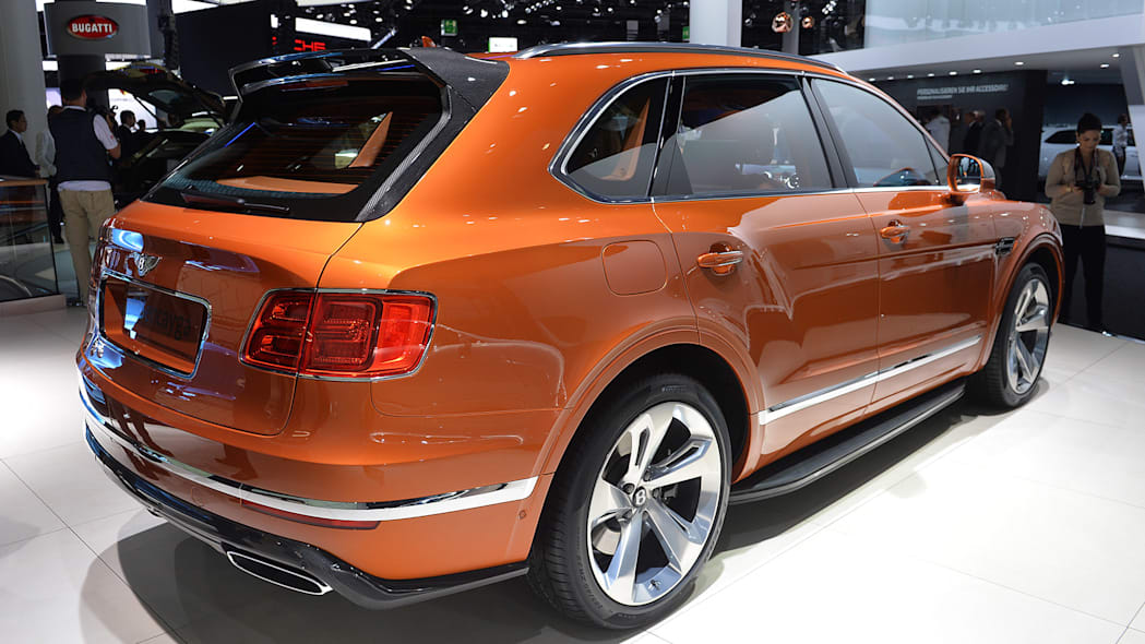 The Bentley Bentayga, unveiled at the 2015 Frankfurt Motor Show, near rear three-quarter.