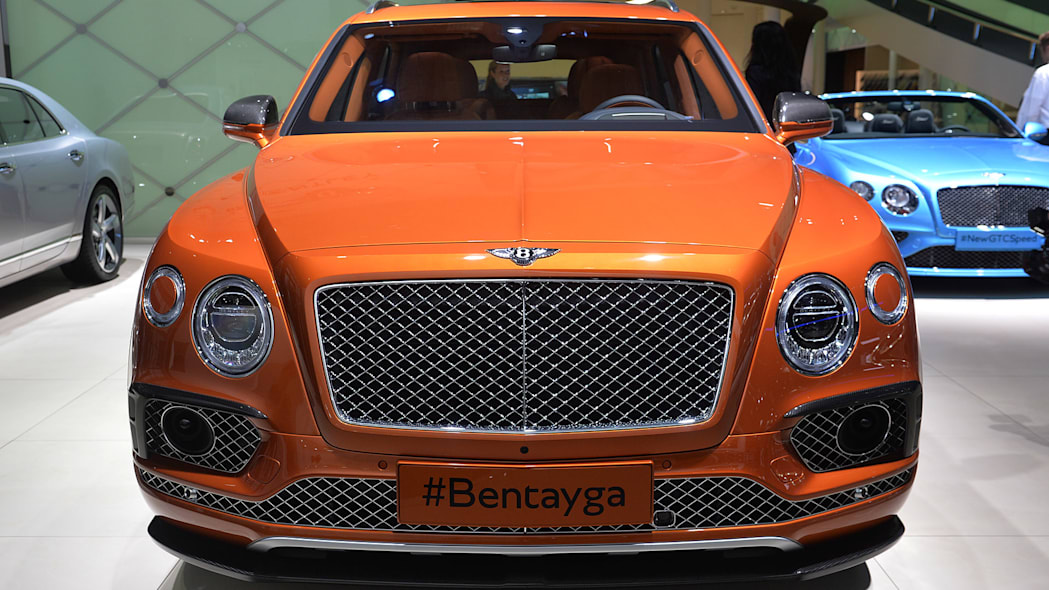 The Bentley Bentayga, unveiled at the 2015 Frankfurt Motor Show, front view.