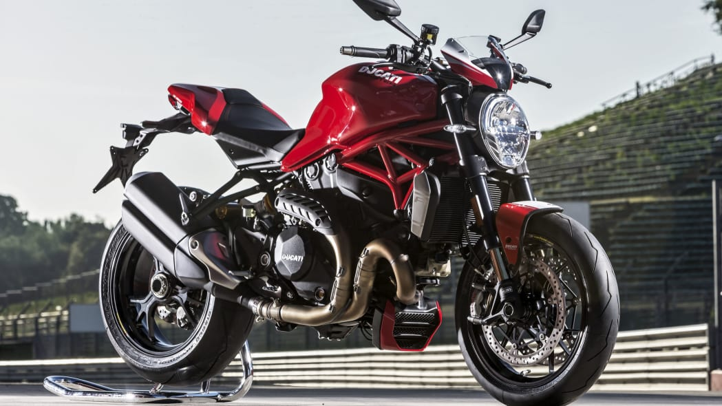 red ducati monster 1200 r front three quarters