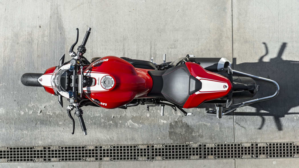 red ducati monster 1200 r top view