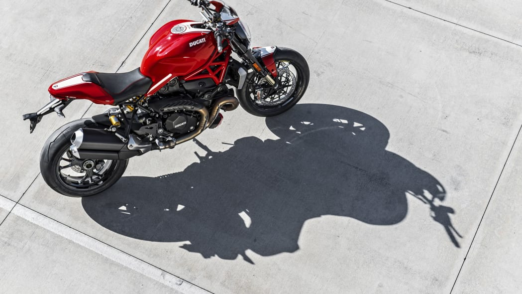 red ducati monster 1200 r from top