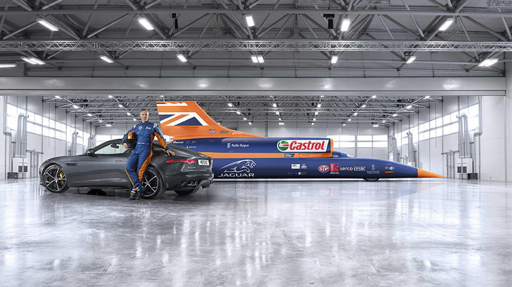 Bloodhound SSC rendering with Jaguar F-Type AWD