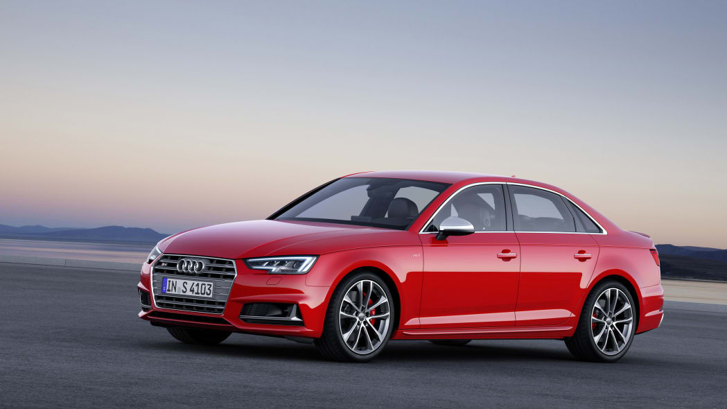 red 2017 audi s4 staged front three quarters