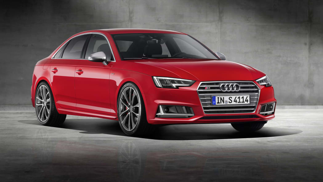 red 2017 audi s4 front three quarters studio