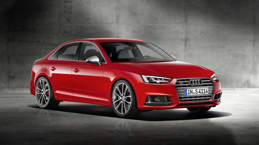 red 2017 audi s4 front three quarters further back