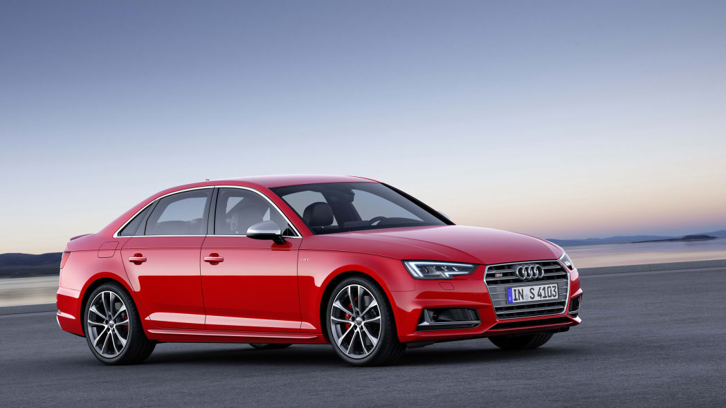 red 2017 audi s4 front three quarters outside