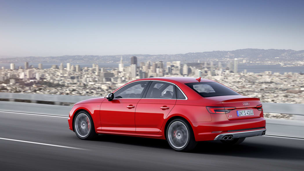 red 2017 audi s4 rear three quarters city