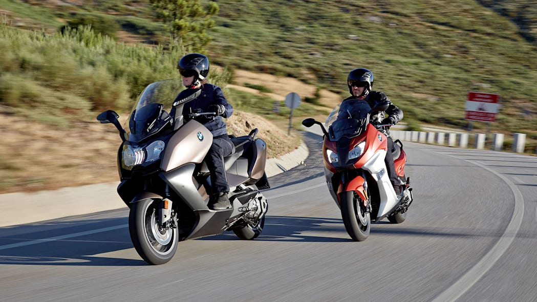bmw c650 sport and gt on road