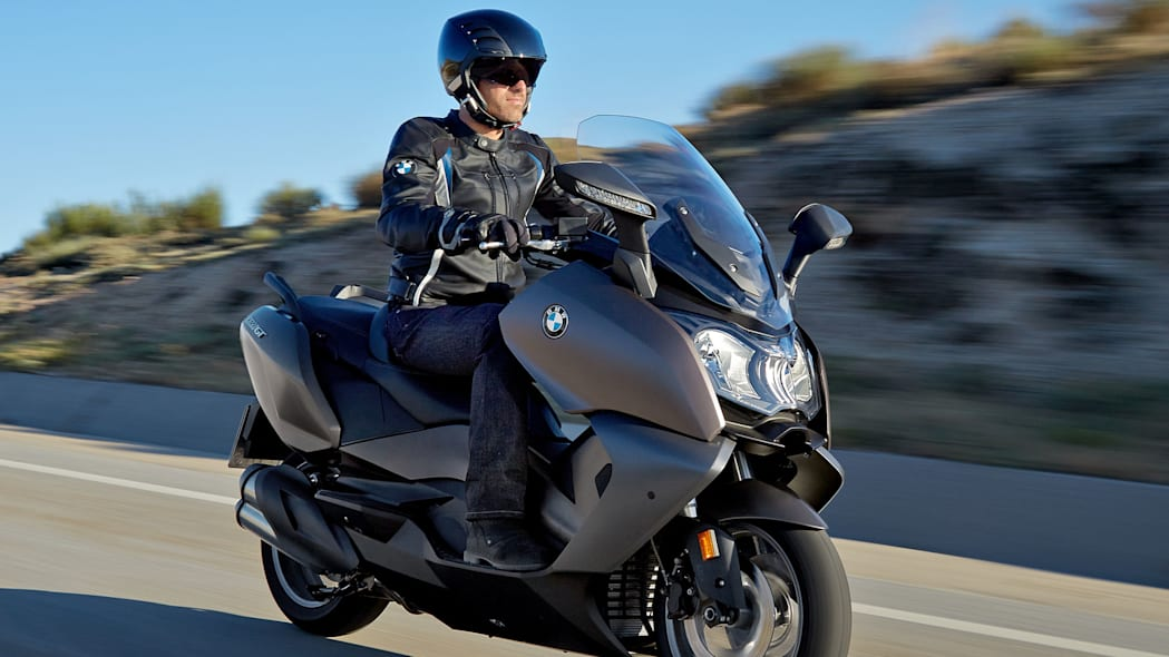 bmw c650 gt riding on the road