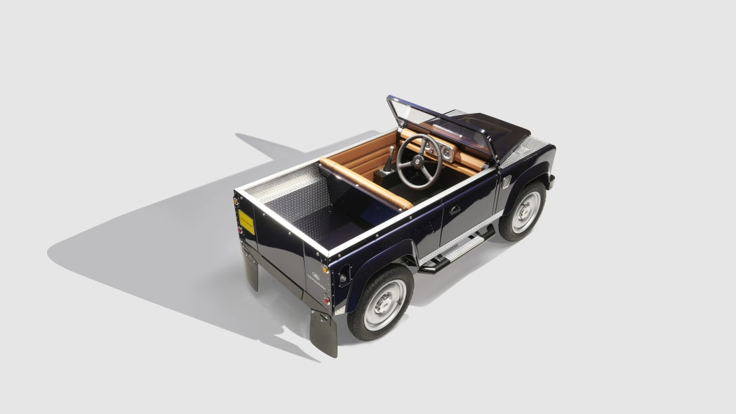 land rover defender pedal car top rear three quarters