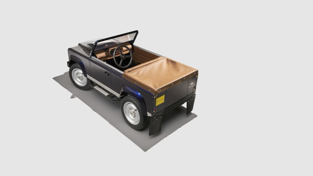 land rover defender pedal car top rear three quarters side