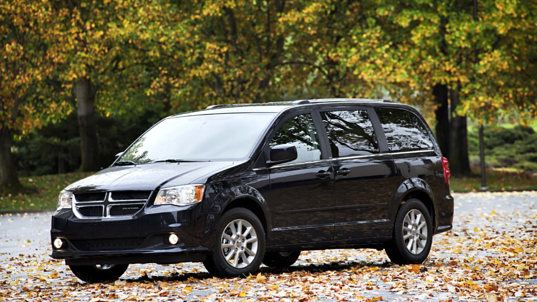 Dodge Grand Caravan black front fall leaves