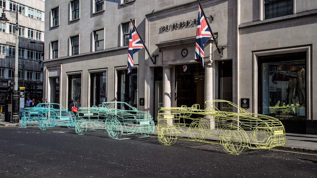 land rover range rover evoque convertible wireframes at burberry closeup