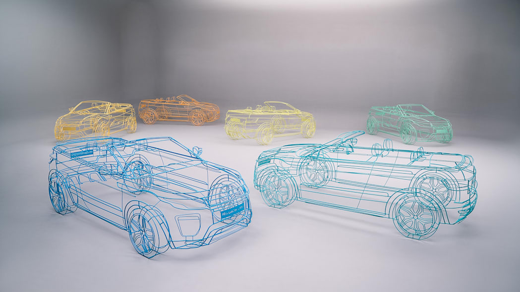 land rover range rover evoque convertible wireframes together
