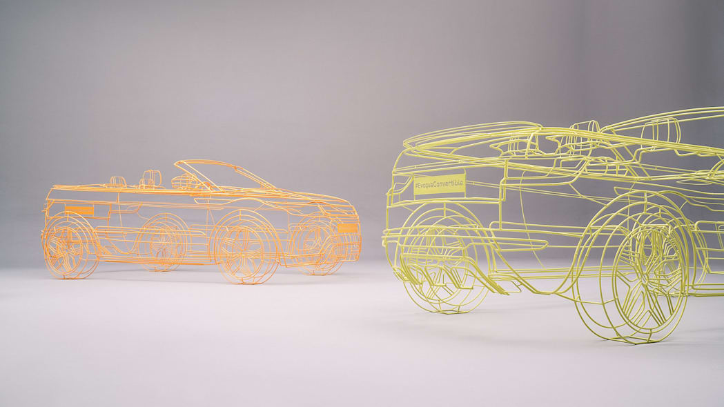 orange and yellow land rover range rover evoque convertible wireframes