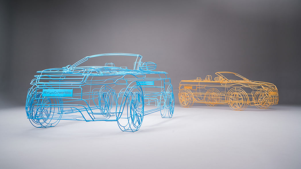 blue and orange land rover range rover evoque convertible wireframes