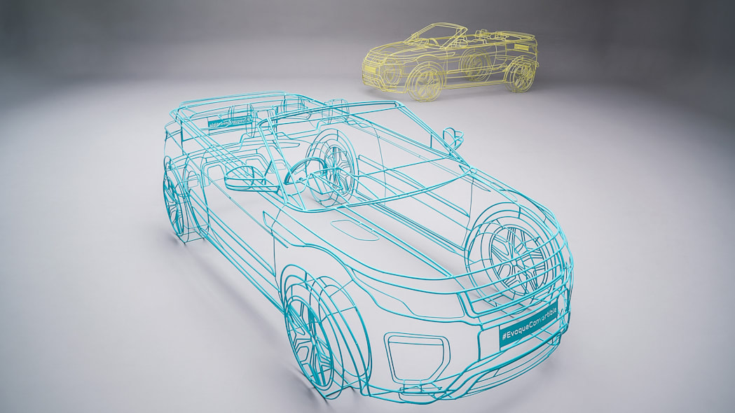 green and yellow land rover range rover evoque convertible wireframes
