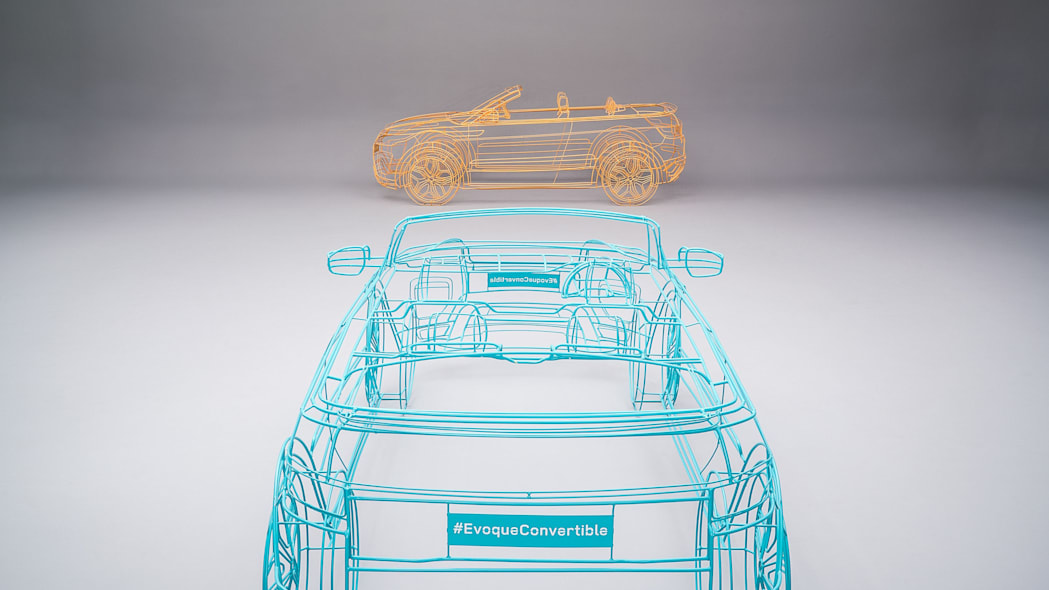 green and orange land rover range rover evoque convertible wireframes