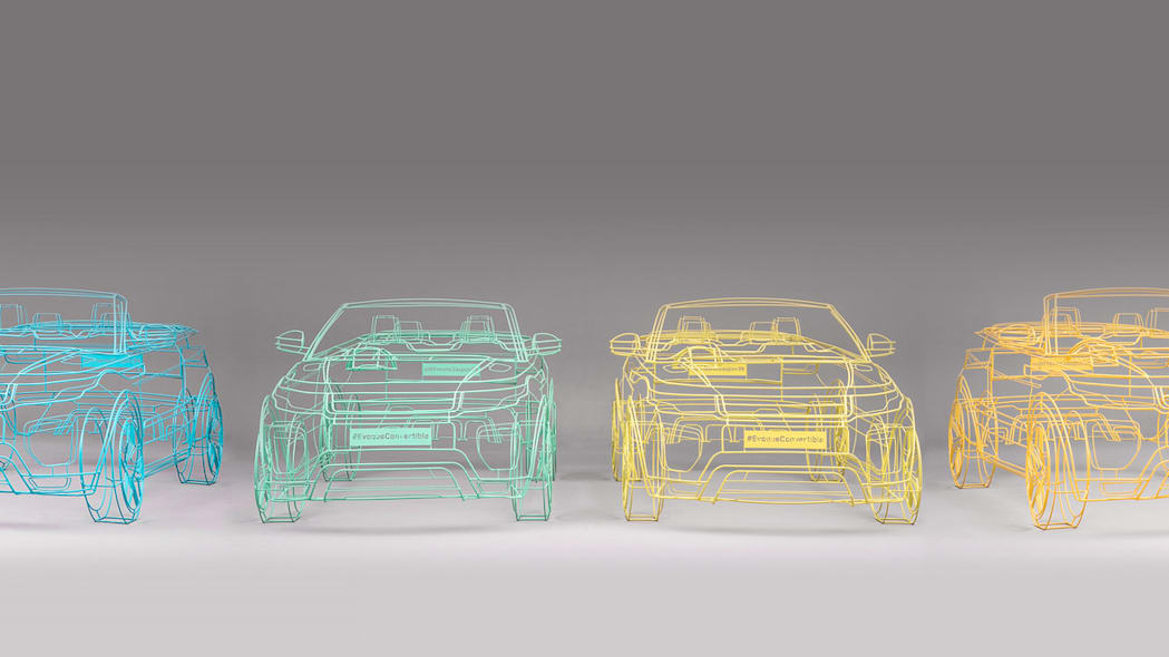 all land rover range rover evoque convertible wireframes colors together