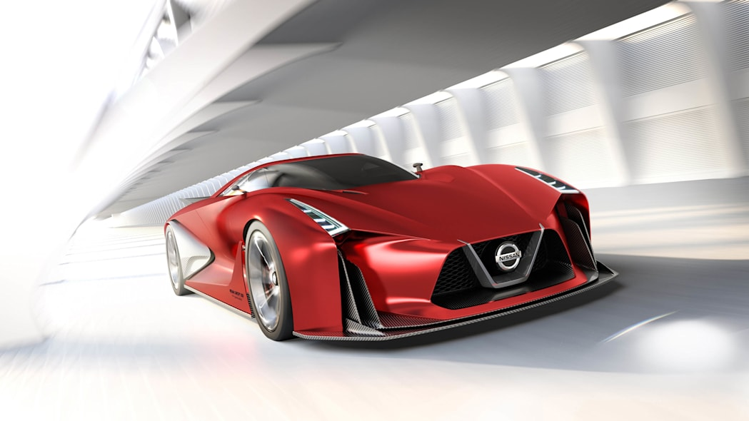 Nissan Concept 2020 Vision Gran Turismo red sketch front 3/4