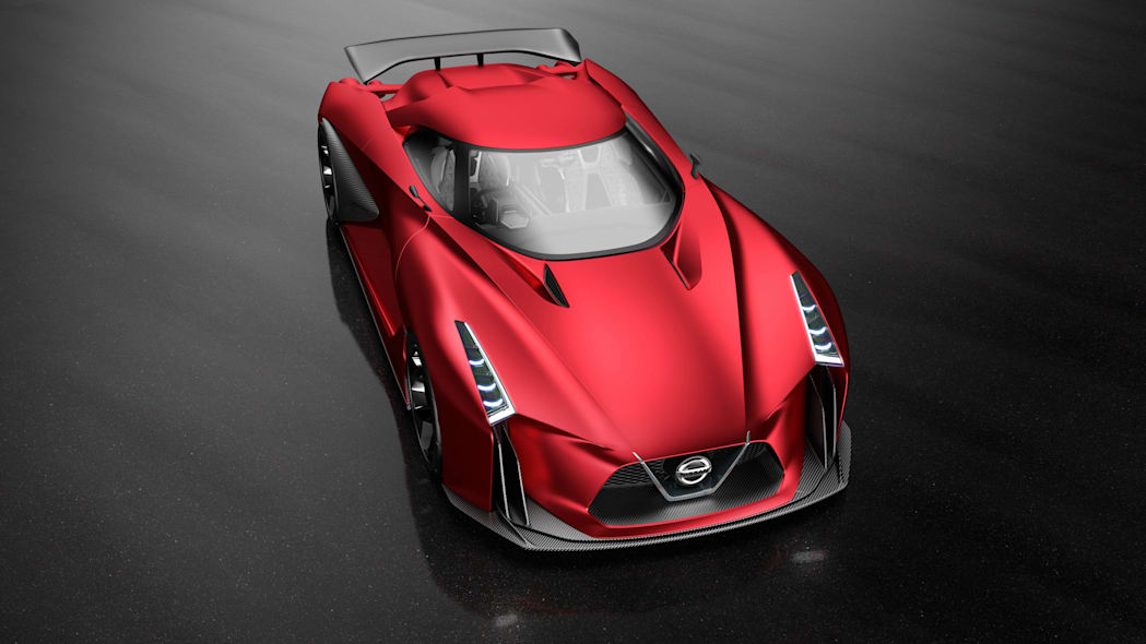 Nissan Concept 2020 Vision Gran Turismo above front 3/4 red