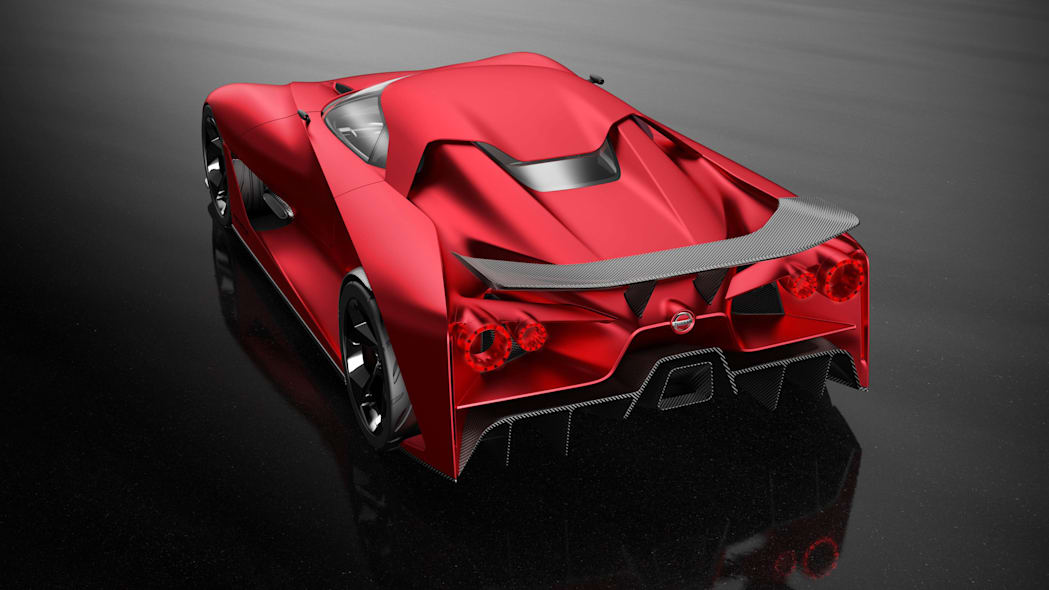 Nissan Concept 2020 Vision Gran Turismo above rear 3/4 red