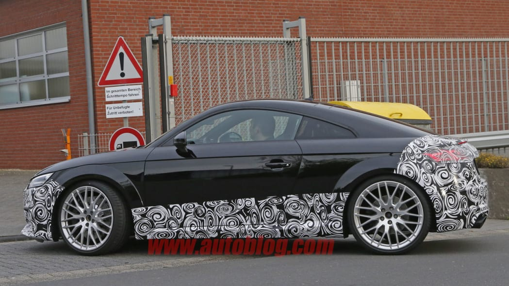 camouflaged audi tt rs spy shot front, side sills, and rear