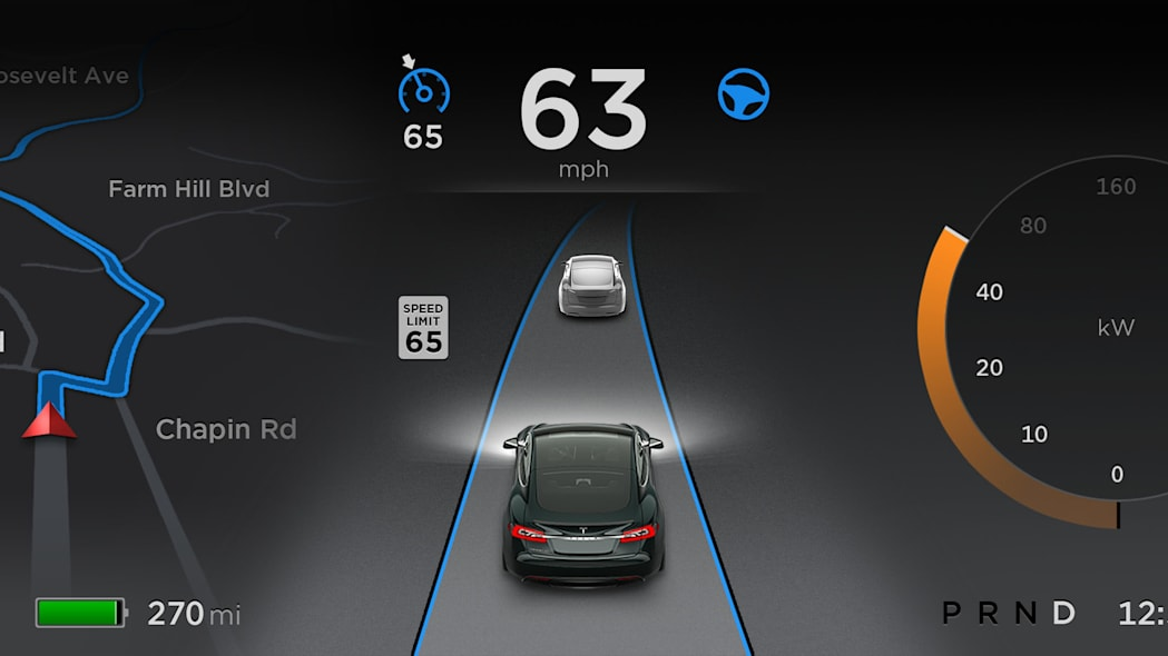 Tesla Model S Autopilot dashboard