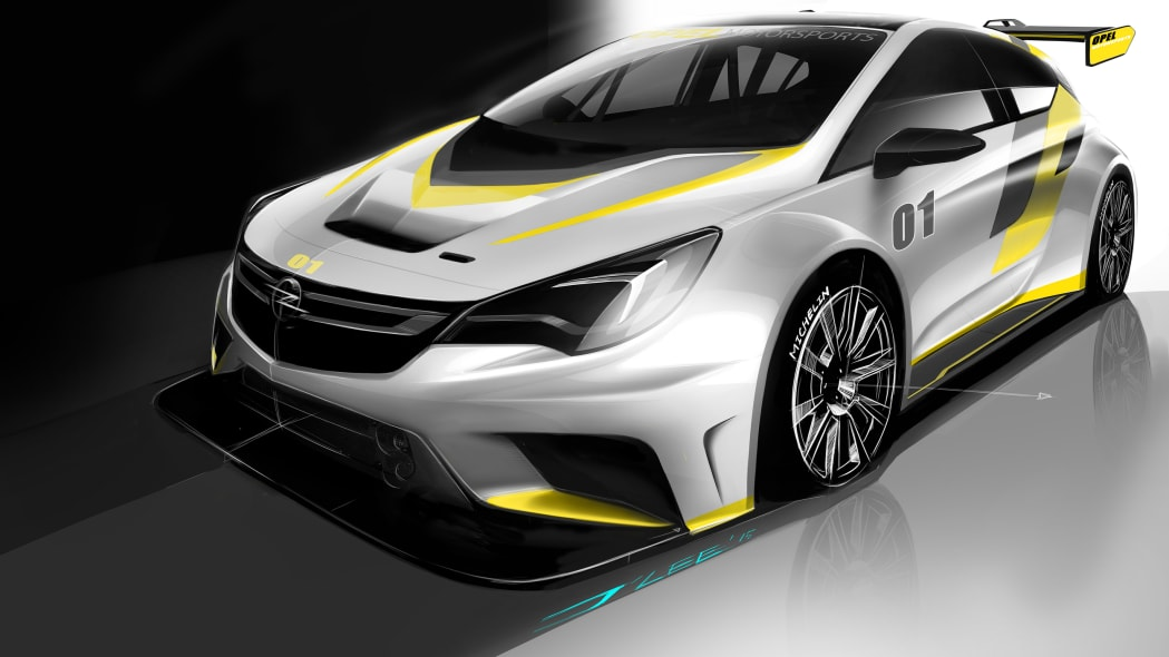 Opel Astra TCR sketch front 3/4