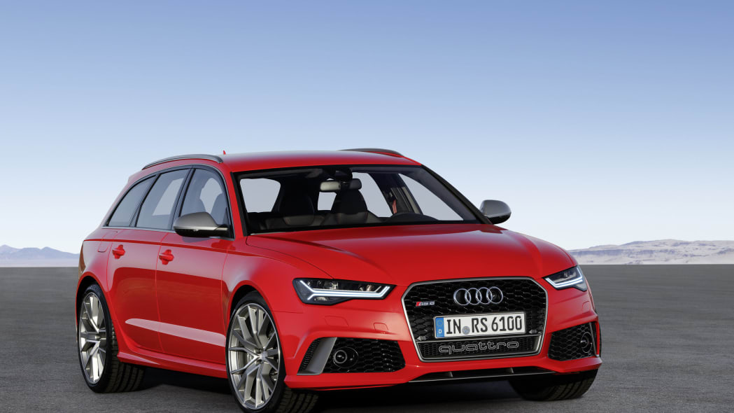 red audi rs6 avant performance front three quarters static