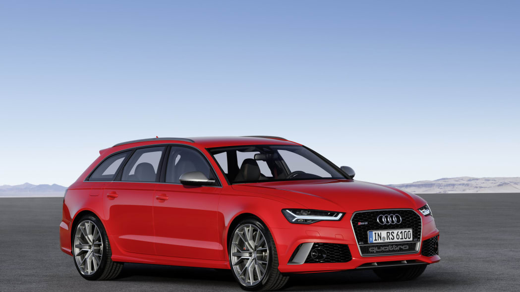 red audi rs6 avant performance front three quarters design