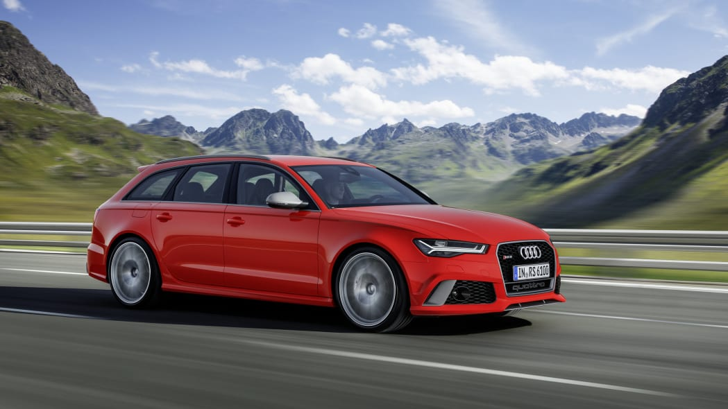 red audi rs6 avant performance on the road