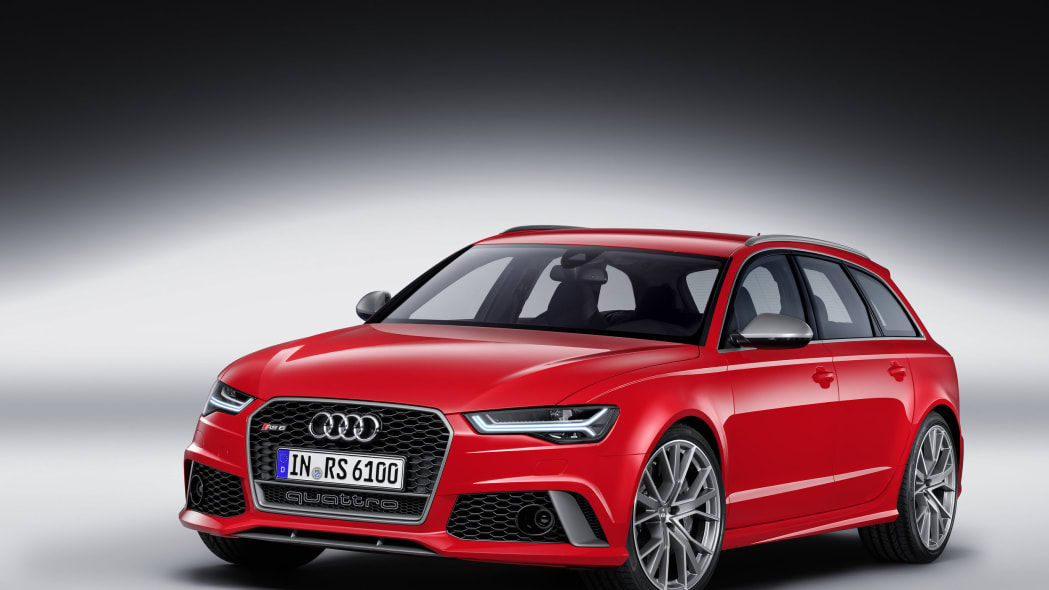 red audi rs6 avant performance in the studio