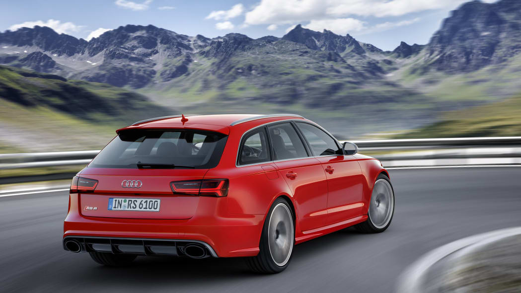 red audi rs6 avant performance rear cornering