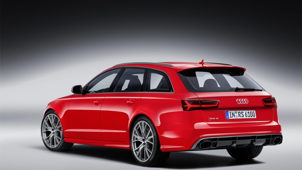 red audi rs6 avant performance rear studio