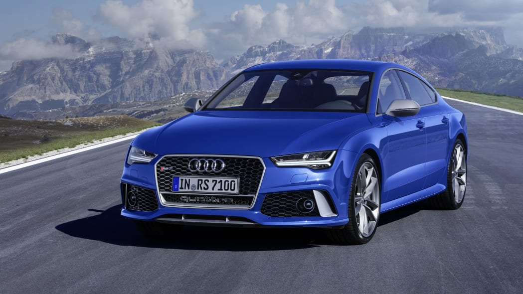 blue audi rs7 sportback performance front three quarters