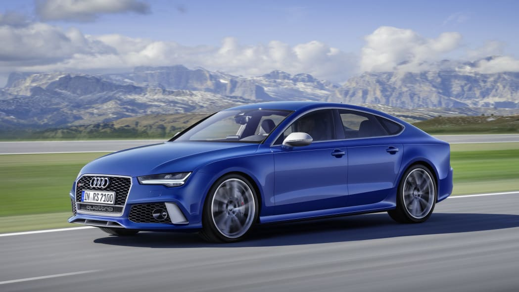 blue audi rs7 sportback performance front three quarters on road