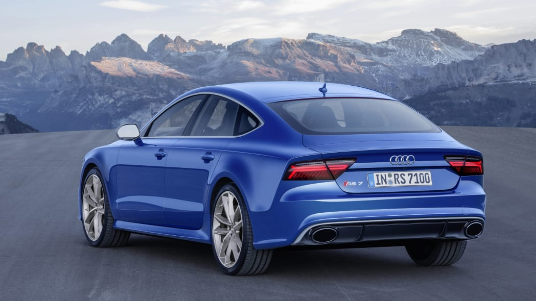blue audi rs7 sportback performance rear three quarters mountains
