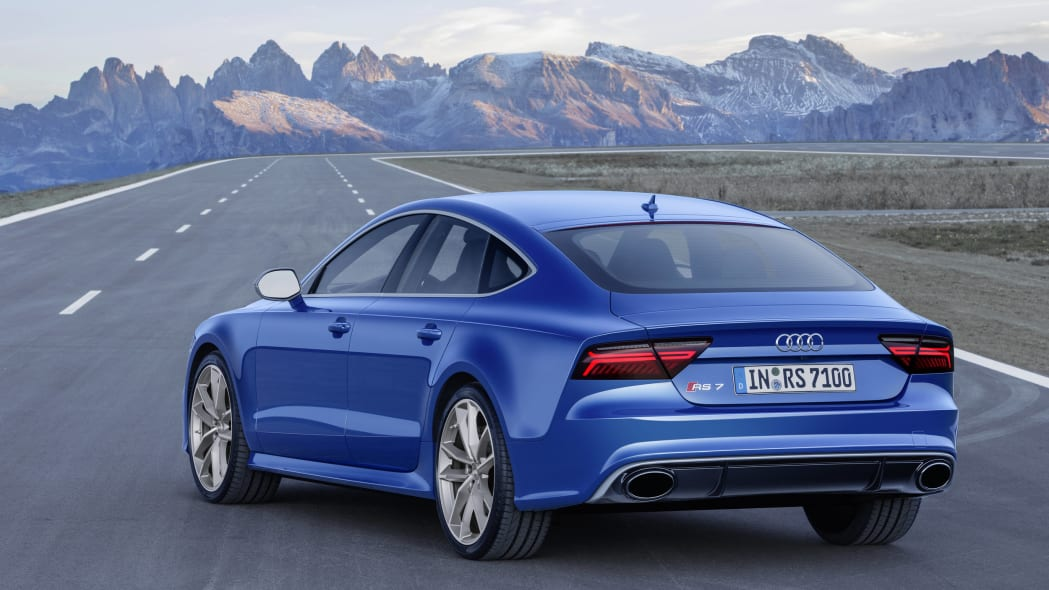 blue audi rs7 sportback performance rear three quarters on road