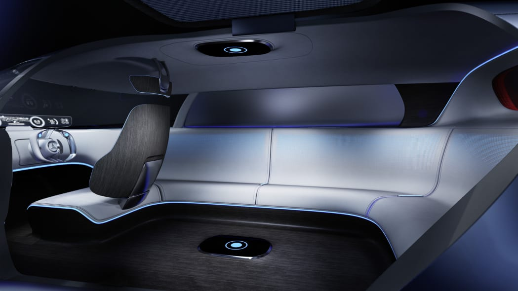 silver mercedes vision tokyo concept interior couch with driver's seat
